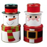 CH19-Santa Claus storage tins‏, Father Christmas packaging metal can